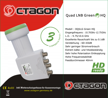 Octagon Quad  LNB 0,1 db HD Ready Green Line