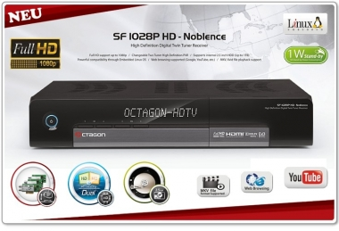 OCTAGON SF 1028P NOBLENCE FULLHD TWIN TUNER FÜR SATELLIT MIT YOUTUBE PLAYER UND BROWSER