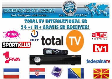 TotalTv International 24 +1 Monat Gratis + HD Receiver gratis inkl Sport Klub HD Paket gratis!
