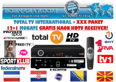 TotalTv Int. SportKlub HD + CLUB XXX Paket 12+1 Monate Neuvertrag/Novi Ugovor