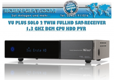 VU+ Solo 2 Full HD 1080p 1,3 GHZ CPU Twin Sat-Linux Receiver HDD PVR ready