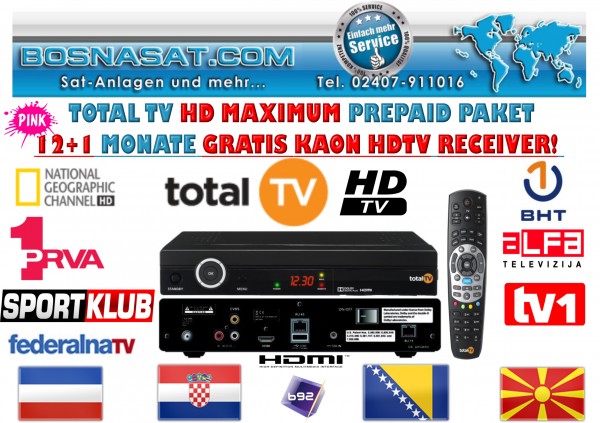 TotalTv Maximum 12+1 Monat Neuvertrag/Novi Ugovor