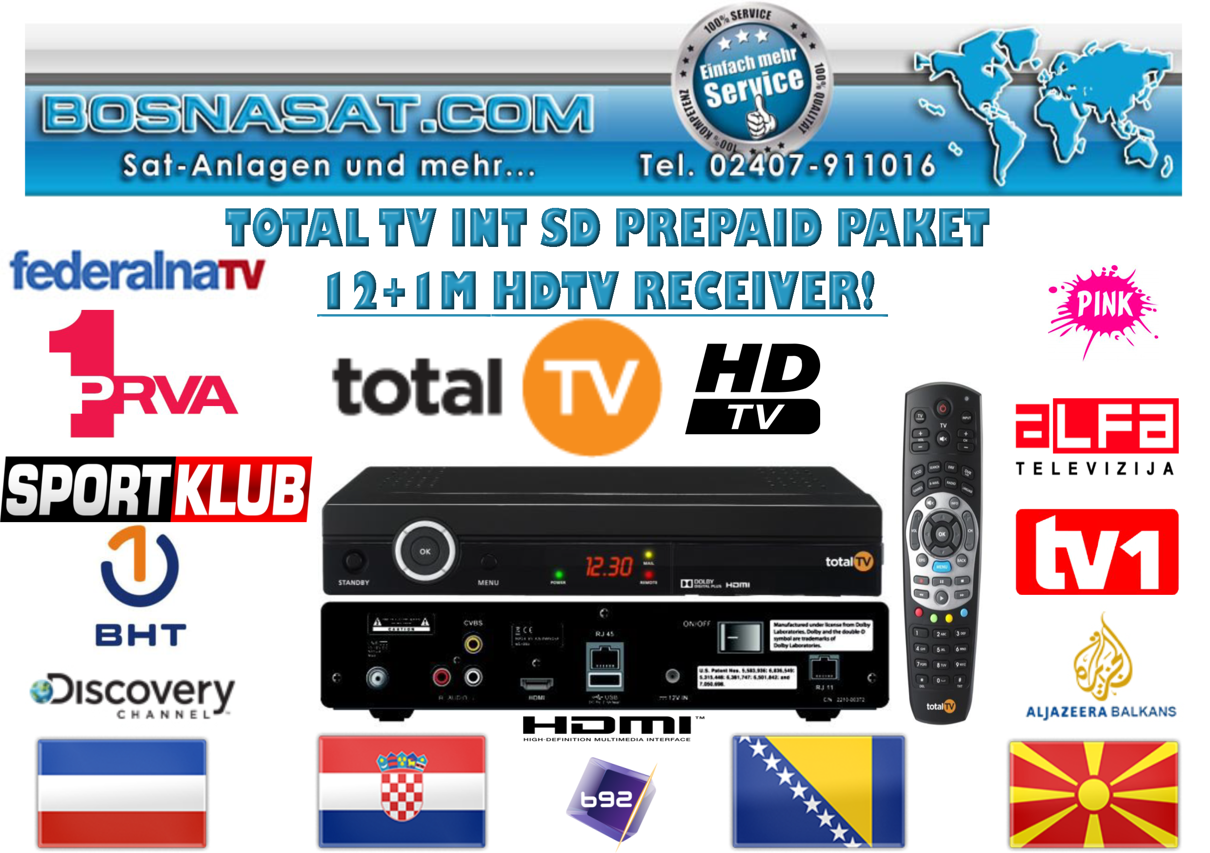 Total TV SD 12+1 Mjeseci sa HD resiverom